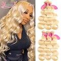 613 светлые волнистые пучки бразильских волос, волнистые пряди Реми, 1/3/4 шт., пряди человеческих волос, 613 наращивание волос, 8-28 дюймов, Younsolo