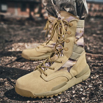 Men Military Tactical Boots Winter Breathable Leather Camouflage Lace Up Boots High Combat Ankle Boots Men's Work shoes
