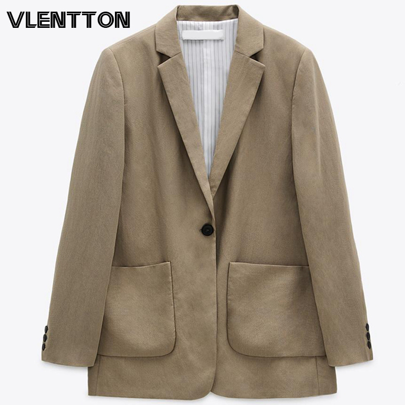 2020 Autumn Women Fashion Vintage Blazers Coats Solid Button Suit Jacket Casual Loose Outwear Tops Female Office Blazer Mujer