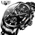 Relogio Masculino LIGE hommes montres haut de gamme de luxe de mode affaires montre à Quartz hommes Sport plein acier étanche noir horloge