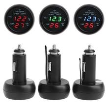 цена на 3in1 Auto Digital LED Thermometer USB Car Charger Cigarette Voltmeter Meter 12V/24V Auto Interior Parts Cigarette Lighter