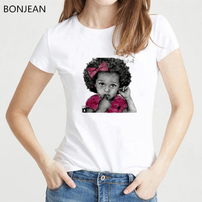 vogue t shirt woomen Melanin poppin black baby sketch print female t-shirt harajuku kawaii clothes white tshirt femme