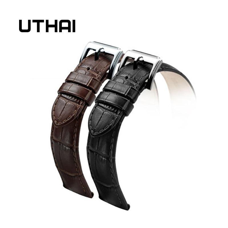 UTHAI Z01 New Watch Bracelet Belt Black Watchbands Genuine Leather Strap Watch Band 18mm 20mm 22mm Quartz Watch Bands