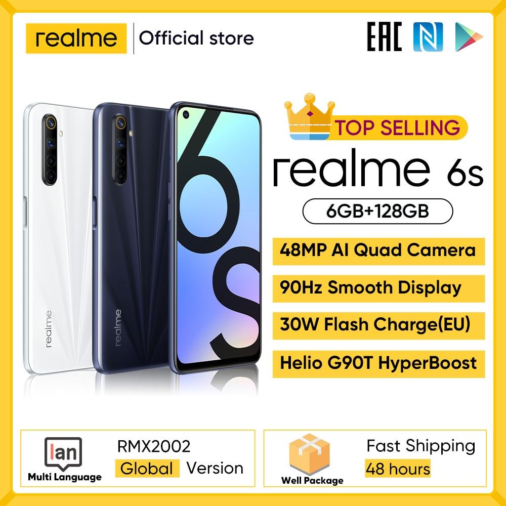 Realme 6s NFC в мире смартфон 90 Гц 6,5 ''Дисплей 6 ГБ 128 ГБ мобильный телефон 48MP 4300 мА/ч, 30W смены телефон Android телефонов