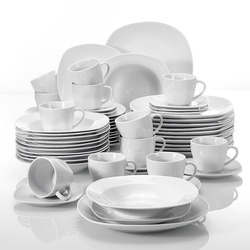 MALACASA Serie Elisa 60-Stück Porzellan Geschirr Tassen, Untertassen, abendessen Suppe Dessert Platten Set für 12 Person