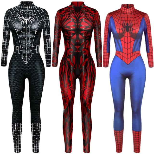 Superhero Sexy Jumpsuit Catsuit Character Venom Cosplay Costumes Halloween Women Bodysuit Fancy Dress