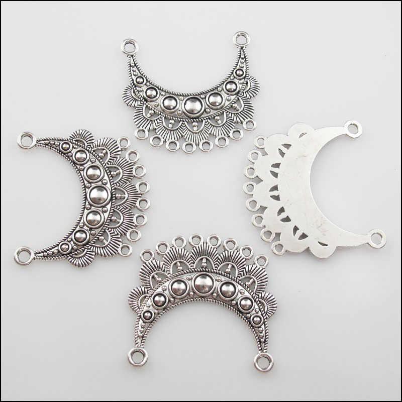 אופנה 3Pcs טיבטי כסף צבע 2-8 ירח פרח קסמי תליוני מחברים 42x46mm