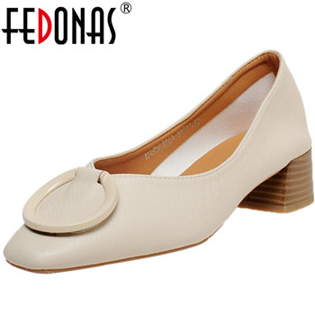FEDONAS New Genuine Leather Square Toe Women Shoes Button Thick Heels Pumps Spring Summer 2020 Concise Basic Retro Shoes Woman