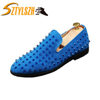 Handmade Men Rivets Shoes Fashion Party Prom Men Loafers Red Suede Leather Casual Shoes lighten Sparkle Slippers Male's Flats