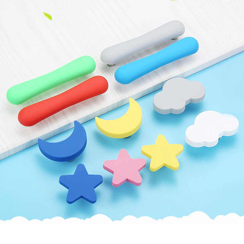 Children Rubber Door Handles Cute Pink Heart Star Moon Cloud Kitchen Cabinet Knobs and Handles Furniture Handle Drawer Pulls