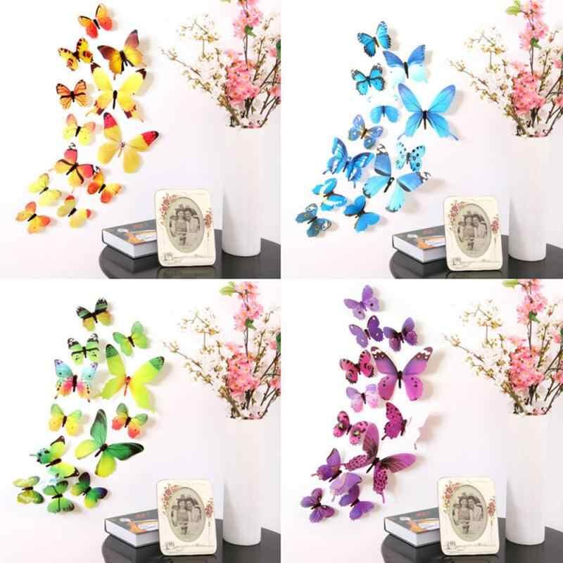 12 pièces 3D PVC mignon papillon autocollant mural réfrigérateur autocollants maison chambre décoration bricolage beau décor affiche Stickers muraux Art décalque