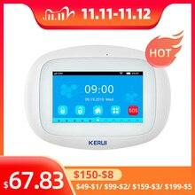 Kerui K52 wifi gsm警報システム4.3インチフルカラータッチディスプレイスマート音声プロンプトホームセキュリティワイヤレスbuglar警報システム