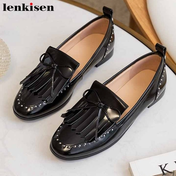 Lenkisen new brand fringe genuine leather loafers shoes fashion bowtie rivets round toe low heel women spring slip on pumps L80