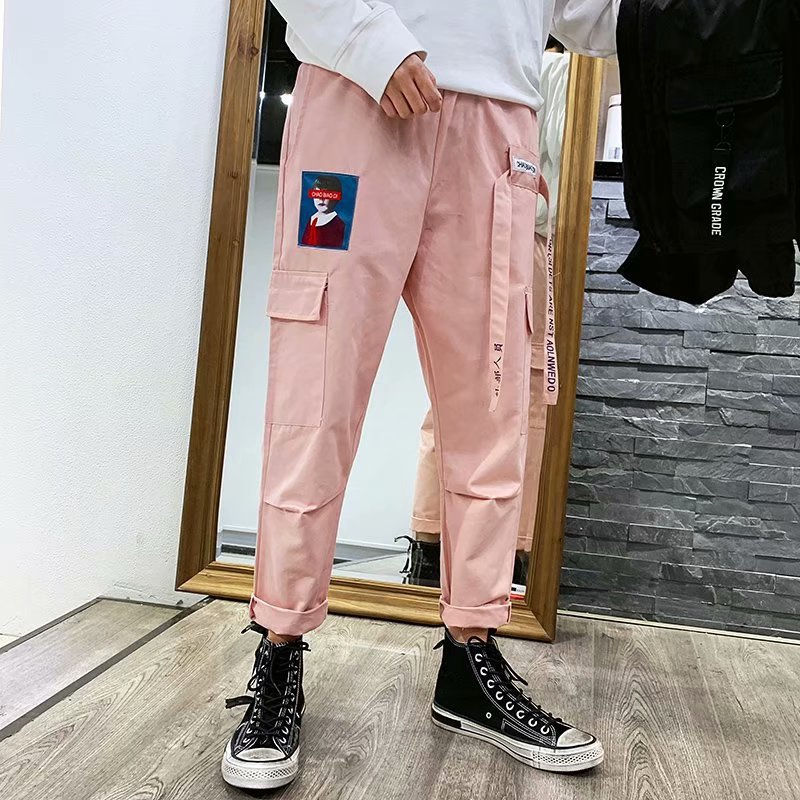 Fashion Man Harajuku Hong Kong Style INS Bib Overall Men's Popular Brand Xi Ha Ku Loose Straight Cool Handsome Pants Harem Pants