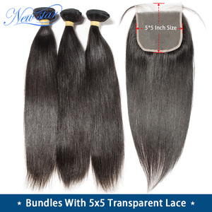 Image 1 - 11A Straight Hair With Transparent 5x5 Lace Closure New Star Cuticle Aligned Brazilian Virgin Hair Bundles And Lace Closure