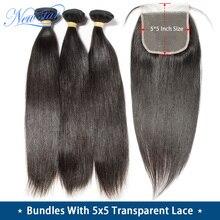 11a cabelo reto com transparente 5x5 fechamento do laço nova estrela cutícula alinhada pacotes de cabelo virgem brasileiro e fechamento do laço