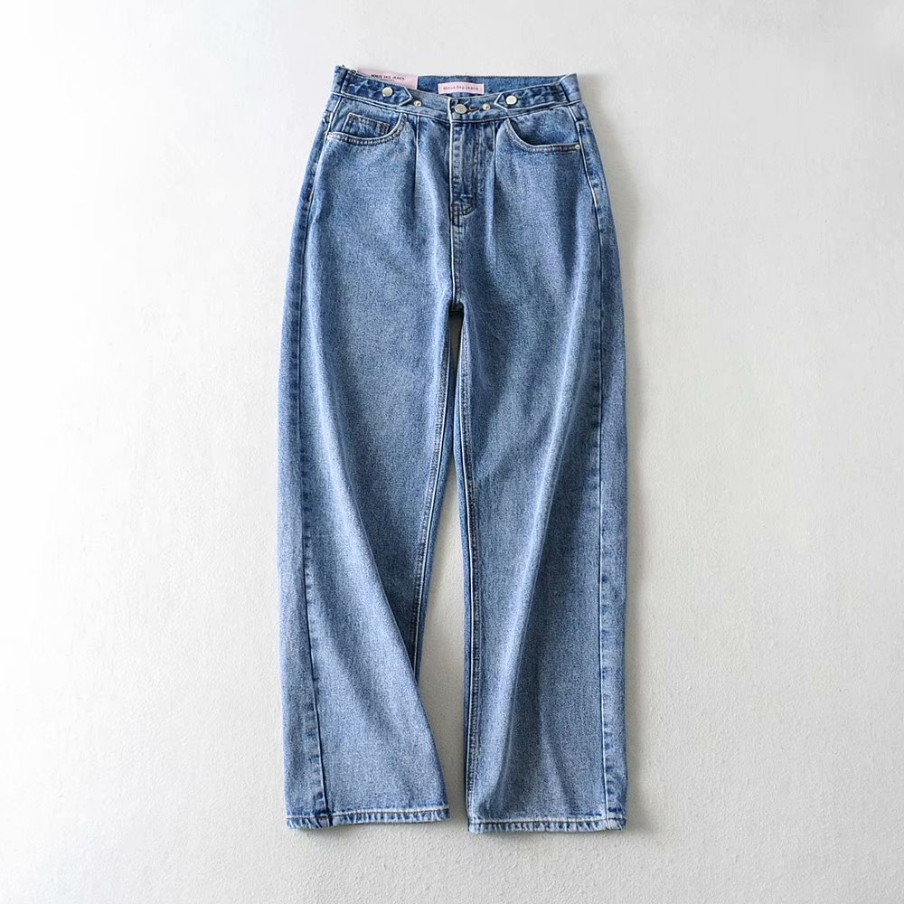 2020 Spring Blue Jeans High Waist Denim Straight Pants Mom Jeans Plus Size Streetwear Pantalon Femme