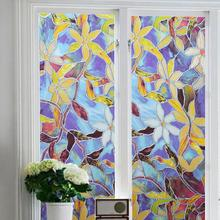 Electrostatic Frosted Stained Glass Shower Room Window Film Mirror , Church Home Foil Stickers, PVC Sun Protection films