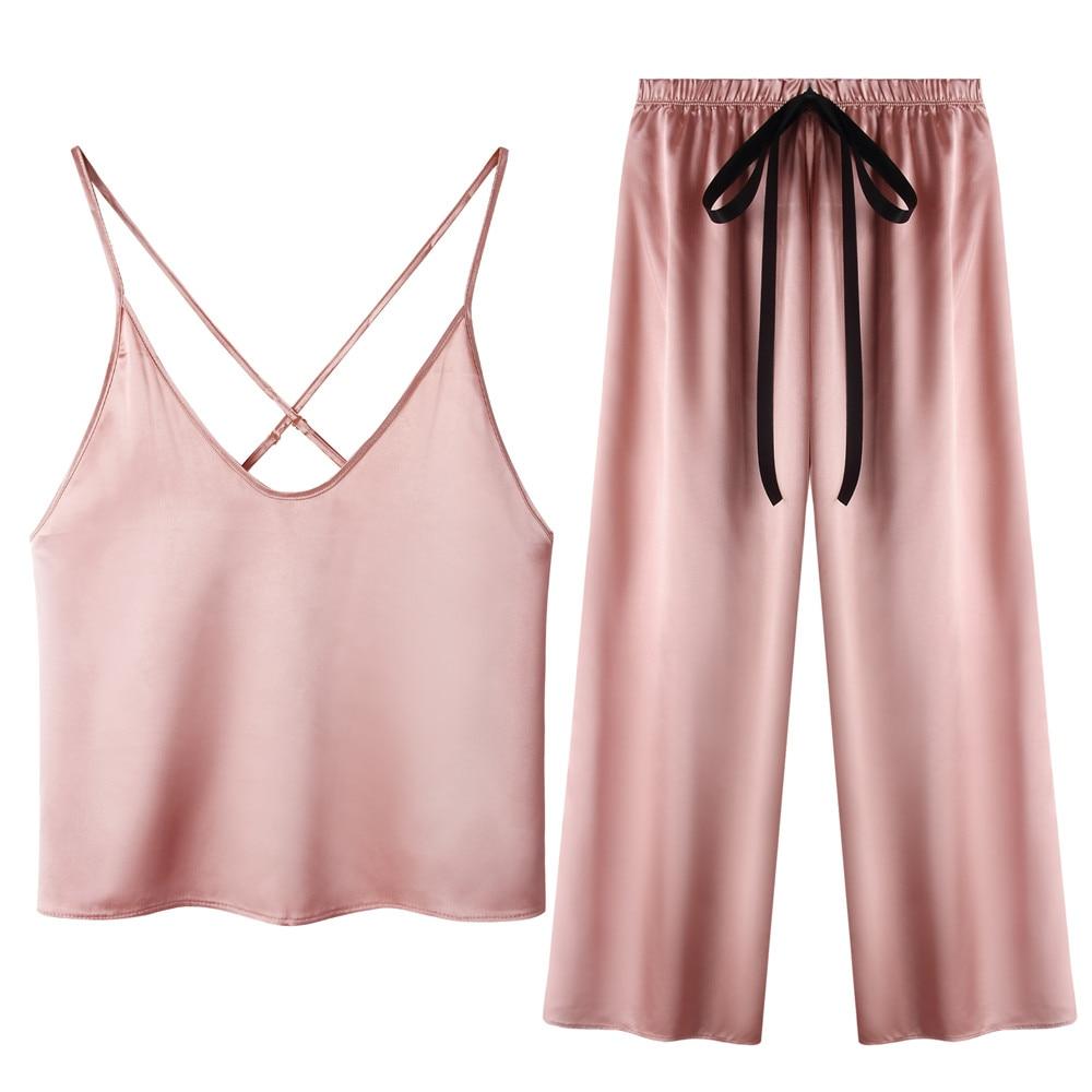 Womens Satin Pajama Set Sexy Pyjamas Criss Cross Back Camisole Pant Set Bow Nightwear Soft Loungewear|Pajama Sets| - AliExpress