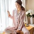 Женская пижама из искусственного шелка, Атласный пижамный комплект, ночная одежда с длинным рукавом, домашняя пижама одежды, комплект для ж...