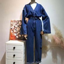 Новые модные женские джинсы с поясом, одноцветные длинные сиамские брюки, мужские Свободные Комбинезоны с высокой талией