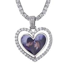 Heart Custom Photos Rotating Double-side Memory Medallion Solid Pendant Necklace Hollow Heart Zircon Women Men's Hip hop Jewelry(China)