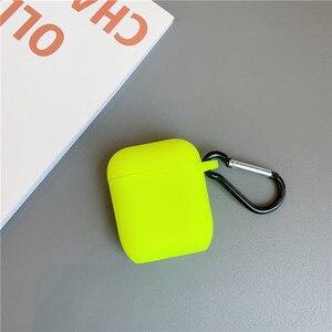 Image 3 - Fluorescencyjny kolor dla Apple Airpods 2/1 Case jednolity kolor Bluetooth słuchawki pokrywa dla Airpods Pro słuchawki Box silikonowe Funda