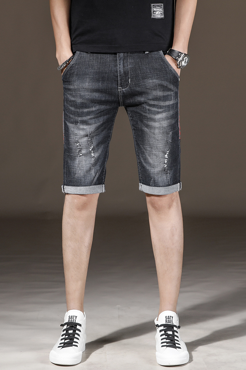2019 Summer Thin Section Cowboy Shorts Men Elasticity With Holes Versatile Slim Fit Black Gray Knee-length Denim Shorts