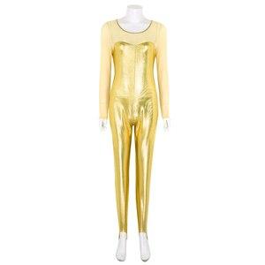 Image 2 - ChicTry dla dorosłych błyszczące metalowe z długim rękawem jednoczęściowy balet trykot gimnastyka kobiet body Catsuit siłownia Unitards kostium taneczny
