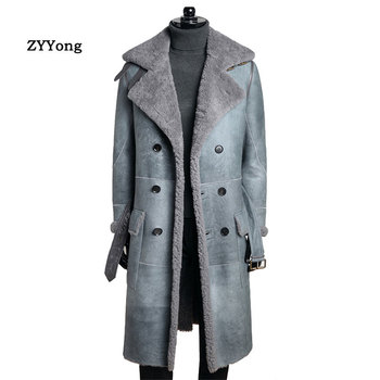 sheepskin coat isaco New Warm Winter Sheepskin Men's Leather jacket Men Leisure Fur coat Men Brand luxury Real Leather Coat