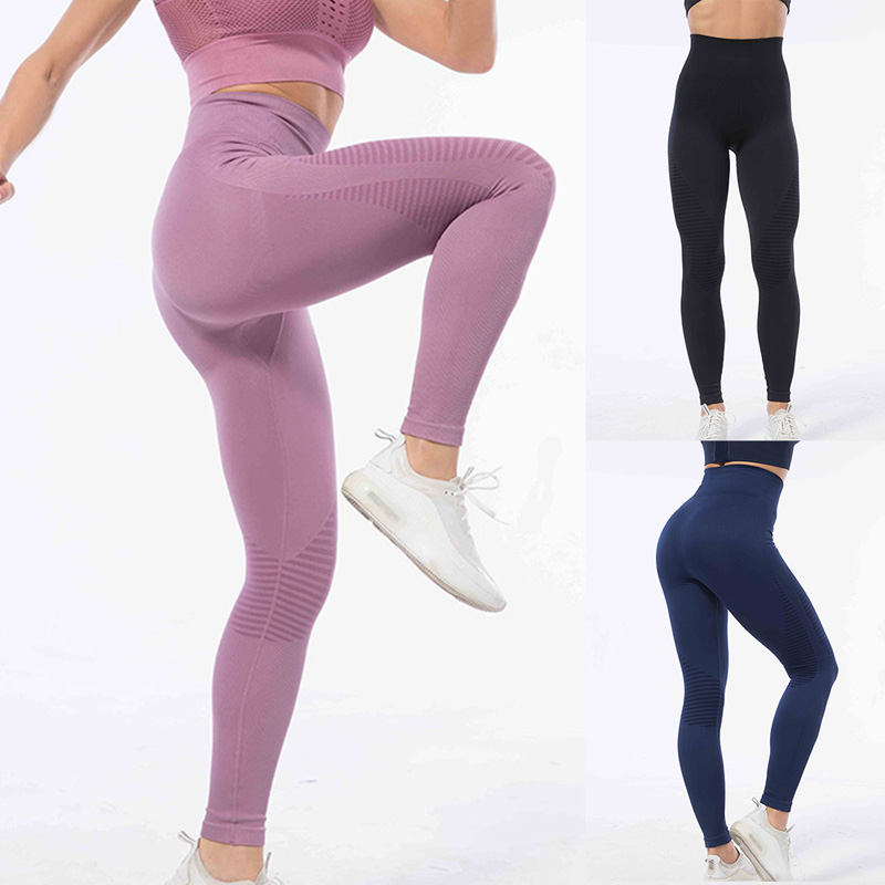 2020 New Women High Waist Fitness Fashion Sports Gym Leggings Seamless Push Up Sexy Leggings Exercise Running Clothing