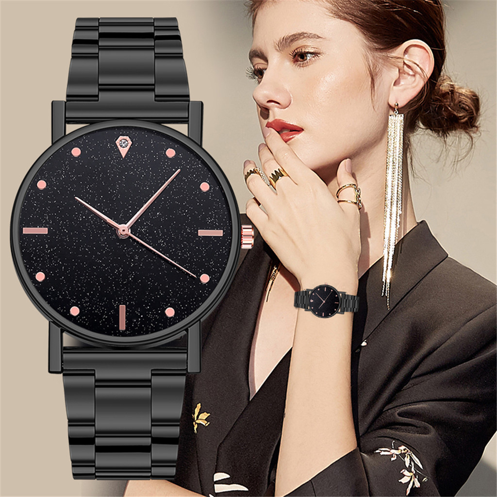 Luxury Quartz Watch Women Stainless Steel Dial Leather Deployment Bucket наручные часы 12 Color Casual Round Bracele Wrist Watch