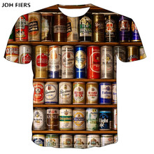 JOH FIERS 2019 Novelty 3D t shirt Men Cans of beer Printed Hip Hop Crewneck short Sleeve Men/Women t-shirt tee tops  6XL