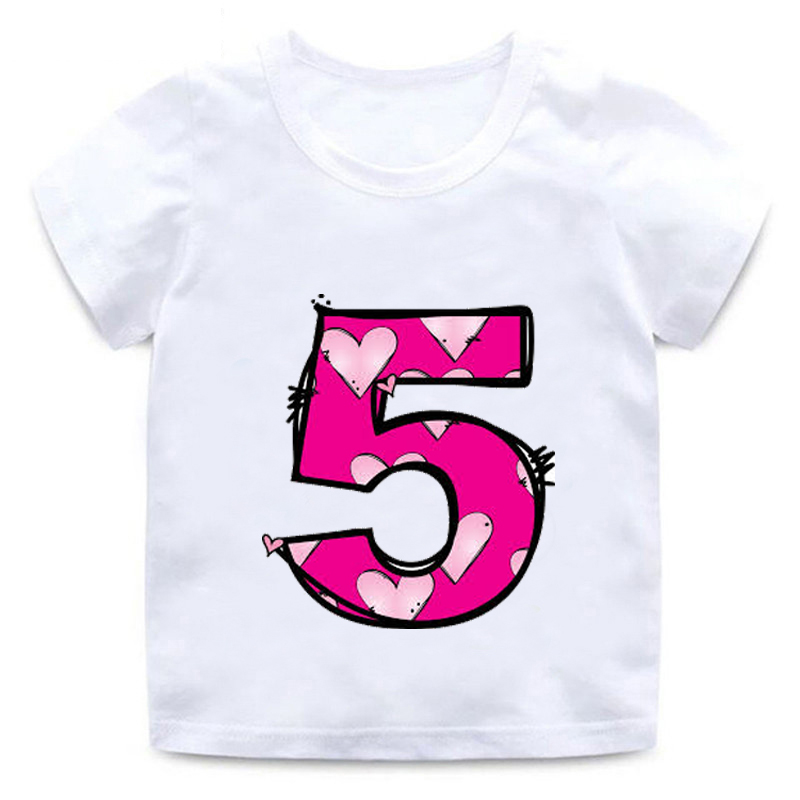 New Kids Happy Birthday Letters Love Cute Print Clothes Boys And Girls  Funny Shirt Children Number 1-9 Birthday Gift,BAL569