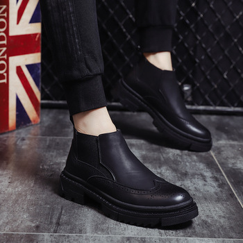 British design chelsea boots for men casual wedding party brogue shoes cow leather boot carved bullock ankle botas zapatos male