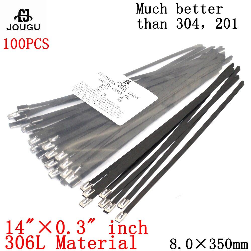 Стяжка для кабеля из нержавеющей стали, 100 шт., 8 × 350 мм, 316 материал, черная прочная металлическая стяжка морского класса с эпоксидным покрыти...