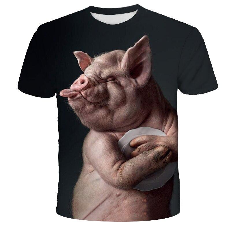 New Arrive Popular Novelty Animal Pig Sheep Series Tshirt Men Women 3D Print T-shirt Harajuku Style T Shirt Summer Tops