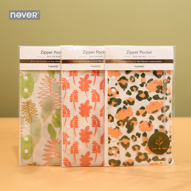 Never Leopard Grain Spiral Notebook Zipper Pocket Storage Bag For Filofax A6 Planner Diary Transparent File Bag Cute Stationery