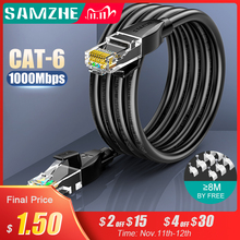 SAMZHE CAT6 Round Ethernet Cable Cat 6 Lan Cable  RJ 45 Network Cable  Patch Cord for Laptop Router RJ45 Internet Cable