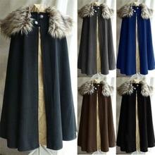 Litthing средневековый мужской зимний плащ пальто винтажное пальто Готический стиль меховой воротник накидка Jon Snow костюм