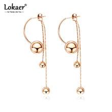 Lokaer Creative Stainless Steel Smooth Long Bead Tassel Earrings Jewelry Rose Gold Chain & Link Dangle Earrings For Women E17098