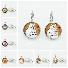 New coffee latte cappuccino heart fish art image earrings dome