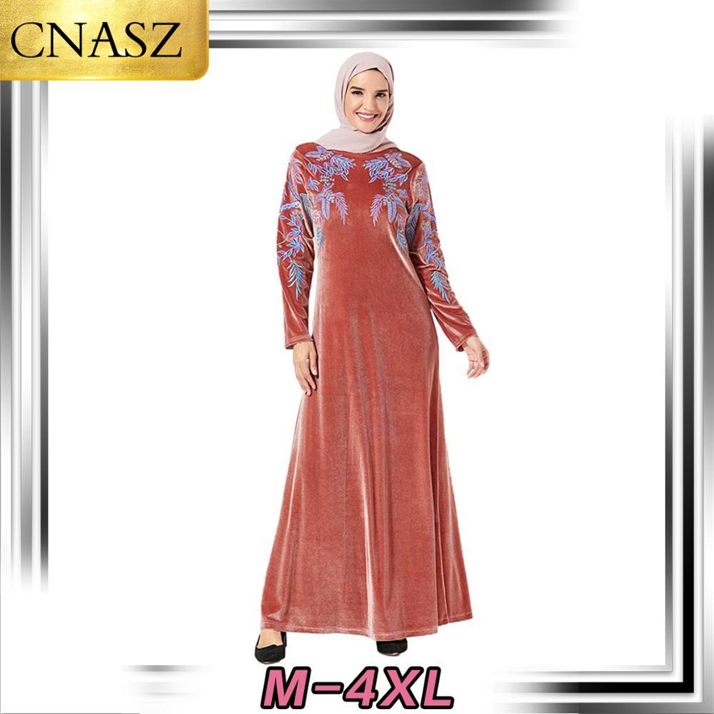 Dernière robe musulmane dubaï mode moyen-orient arabe grande taille femmes islamique turquie or velours balançoire décontracté