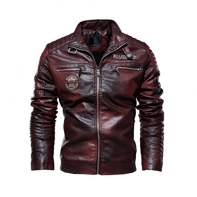 Mens Leather Jackets Motorcycle Stand Collar Zipper Pockets Male PU Coats Biker Faux Leather Fashion Outerwear