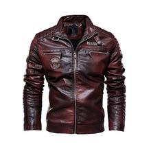 Mens Leather Jackets Motorcycle Stand Collar Zipper Pockets Male PU Coats Biker
