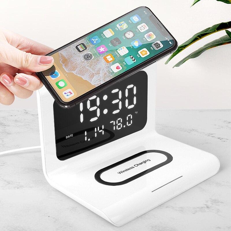 Led despertador elétrico carregador sem fio relógio criativo sem fio carregamento rápido multifuncional três-em-um telefone móvel hold
