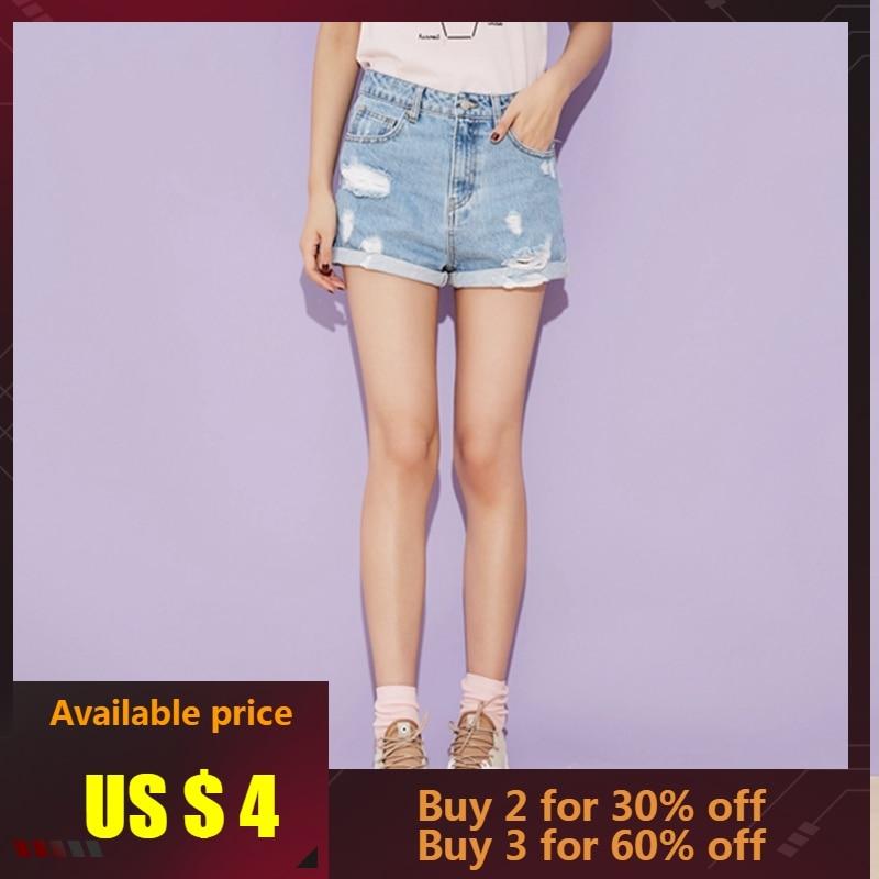 Metersbonwe High Waist  Crimping Basic Denim Shorts For Women Hole Trendy Slim Short Pants Casual Womens High Waist Shorts