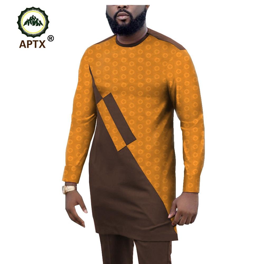APTX Muslim  Jacquard Fabric Cotton Suit For Men Jacquard Fabric Long Top+ Full Length Pants Men's Casual Suit T1916005