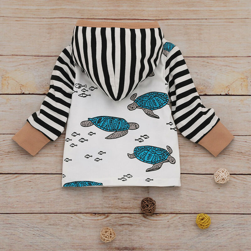 0-24M Baby Boys Clothes Set Turtle Print Long Sleeve Hooded Sweater Boys Set Tortoise Hoodies Outfit Striped Long Pants Kids Set