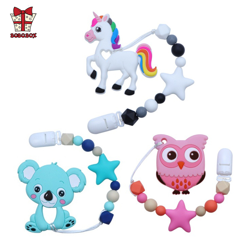 BOBO.BOX Silicone Teether Cartoon Pacifier Clip Chain New Baby Pacifier Clips Newborn Pacifier Chain Clip Holder Nipple Feeding